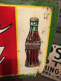 Original 1932 Coca Cola Sign Soda Fountain Diner Service Station Barn Find Tin