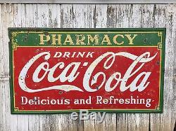 Original 1933 Coca-Cola Pharmacy Single-sided Porcelain Sign 8ft x 4ft
