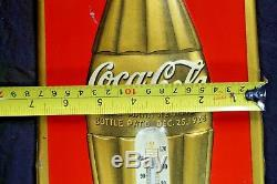 Original 1937 DATED Coke Coca Cola Soda Embossed Advertising Thermometer Sign