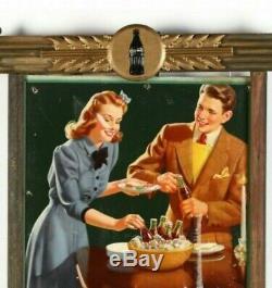 Original 1940's Coca Cola Cardboard Sign in Original Frame