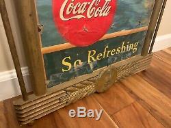Original 1940's Coca Cola Cardboard Sign in Original Kay Frame