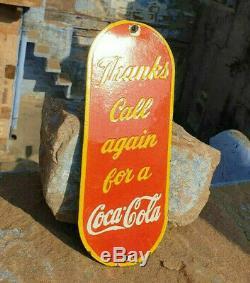 Original 1940's Old Vintage Rare Coca Cola Ad Porcelain Enamel Door Sign Board