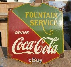 Original 1940's Old Vintage Rare Fountain Coca Cola Porcelain Enamel Sign Board