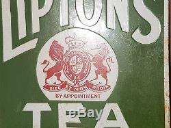 Original 1940s Old Vintage Rare Lipton's Tea Porcelain Enamel Sign Board, LONDON