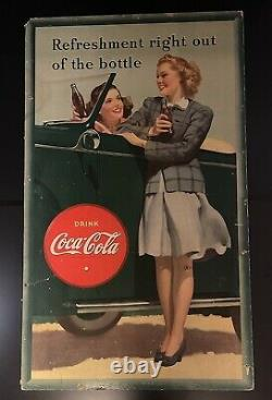 Original 1942 Coca Cola Refreshment right out of the bottle Cardboard Sign/Ad