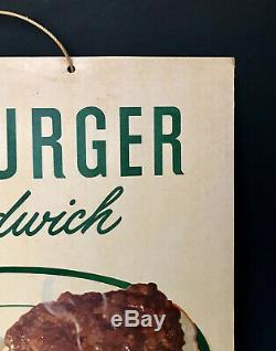 Original 1949 Hamburger & Coca-Cola 30c Cardboard Litho Advertising Diner Sign