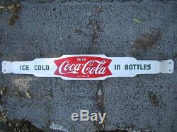 Original 1950's Coca-Cola Coke porcelain door push / pull bar fishtail sign