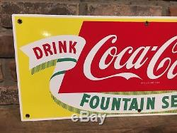 Original 1950's Coca Cola Fountain Service Soda 28 Porcelain Sign