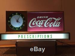 Original 1950s CocaCola Light Up Advertising Counter Sign Clock Works