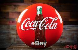 Original 1950s Coca Cola Button Porcelain Sign NOS free shipping