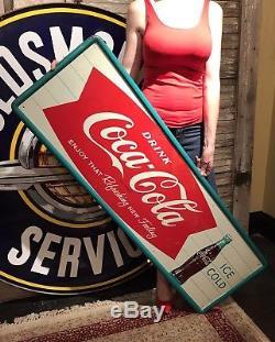 Original 1950s Coca Cola Fishtail Tin Sign 53-1/2x17-1/2