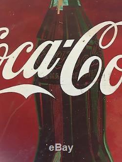 Original 1950s Metal 24 inch Coca Cola Button Sign Barn Find