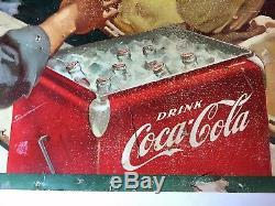 Original 1952 Coca Cola / Coke Cardboard Sign 27-1/2 x 56-1/2 LITHO