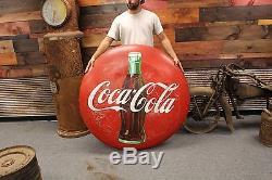 Original 48 Inch Coca Cola Button Sign not porcelain. NO RESERVE