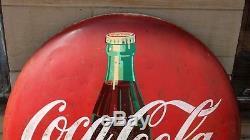 Original 48 Metal Painted Coca Cola Button Coke Sign Vtg Soda Pop Advertising