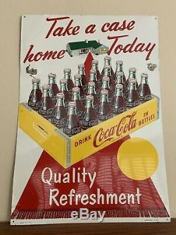 Original 59 Coca Cola Take A Case Home Today Quality Refreshment Sign Robertson