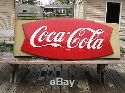 Original 60 x 28 Coca Cola fishtail/sleigh sign withoriginal bracket