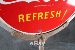 Original Antique 1941 Coca Cola Porcelain Lollipop Sign with Cast Iron Stand