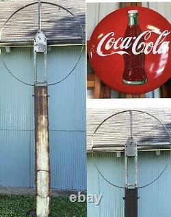 Original Antique 1950s Porcelain 48 Coca Cola Button Sign BRACKET POLE 10 FT