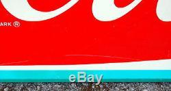 Original Antique 1960s Coca Cola Fishtail Metal Sign, Non Porcelain, Coke