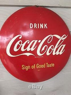 Original Authentic Coca-Cola Antique Advertising Button Sign B 12 Size