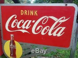 Original! COCA COLA Art Deco Sign COKE 2-sided flange, Diner-soda Fountain 1941