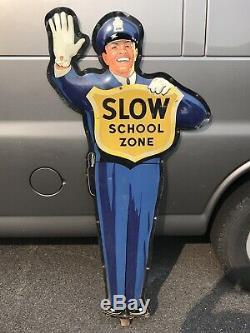 Original COCA COLA COKE School Crossing Guard Policeman Sign no base NICE