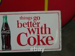 Original COCA COLA THINGS GO BETTER WITH COKE Button Soda Drink METAL SIGN
