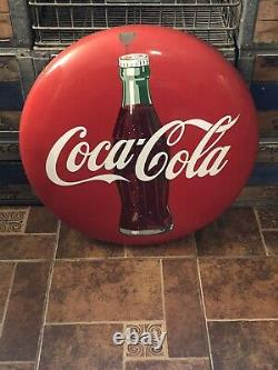 Original Coca-Cola Button Porcelain Sign 24 Inch