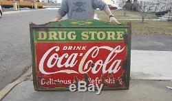 Original Coca Cola Drug Store General Store Porcelain Sign NO RESERVE