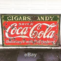 Original Coca Cola Porcelain Sign Coke Advertising Vintage Soda