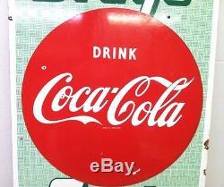 Original Coca Cola Porcelain Sign Drugs/Soda Button