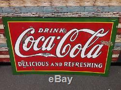 Original Coca Cola Porcelain Sign General Store Soda Pop