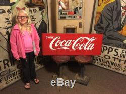 Original Coca Cola Porcelain Sled Sign Soda Fountain Diner Service Station