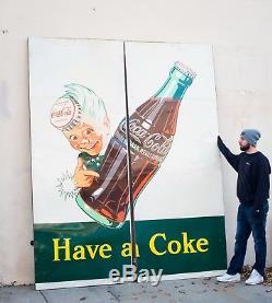 Original Coca Cola Sprite Boy Billboard Tin Sign 1950 (NEW OLD STOCK)
