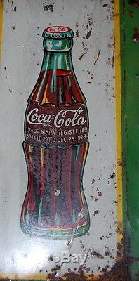 Original Coca Cola Tin Sign Double Christmas Bottle Coke Sign Advertising 1930s