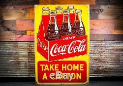Original Large Coca Cola Six Pack Tin Sign