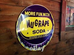 Original Nugrape Soda Advertising Sign Not Porcelain Root Beer Coca Cola Bread