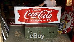Original Porcelain 1960's Coca Cola Soda Pop Fishtail Sled Sign Nice