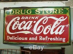 Original Porcelain Coca Cola Large Drug Store Heavy Antique Sign Circa 1930's