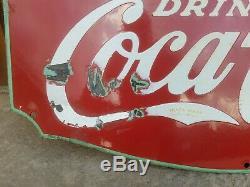Original Porcelain Fountain Service Coca-cola Sign