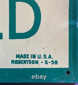 Original Robertson 1950's Coca-Cola Fishtail Metal / Tin Sign 19 1/2 x 28