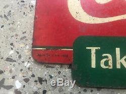 Original Tin Metal Coke Coca Cola Soda Sign Vintage Antique