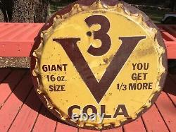 Original V3 Vess Coca Cola Soda Pop Bottle Cap Metal Sign 29 1950s Vintage
