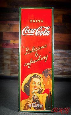 Original Vintage 1940's Coca Cola Tin Sign -WOW