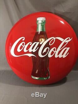 Original Vintage 1950's Coca Cola Soda Pop 24 Porcelain Coke Button Sign