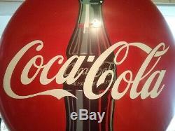 Original Vintage 1950s 36 inch Coca-Cola Porcelain Advertising Button Sign