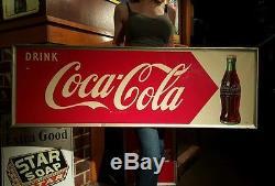 Original Vintage 1950s Coca-Cola Fishtail Bottle Tin sign soda pop drink girl
