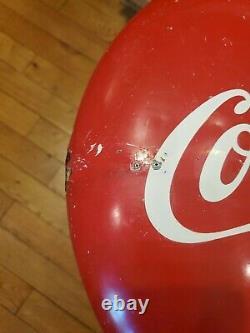 Original Vintage Coca Cola 16 Round Button Sign