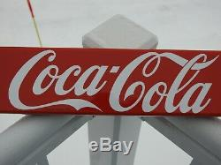 Original Vintage P&m 1953 Coca Cola Porcelain Door Push Bar Coke Sign Ex Beauty